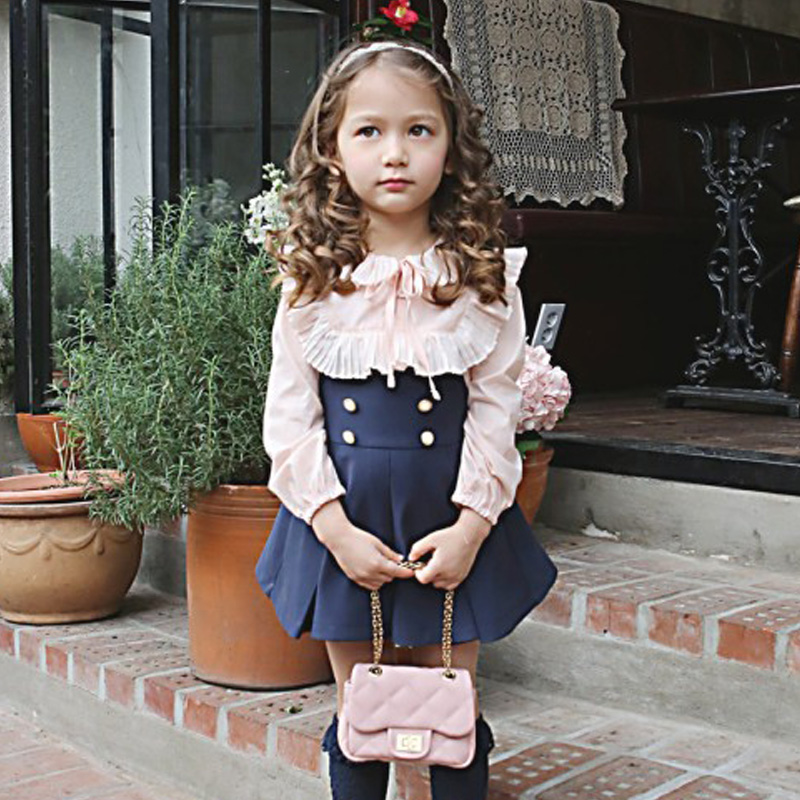 Wholesale Retail Free Shipping Toddler Girls Chilren Casual Wear Ruffles Shirt Suspender Skirt Children's 2pc Suit free shipping   wholesale retail  2