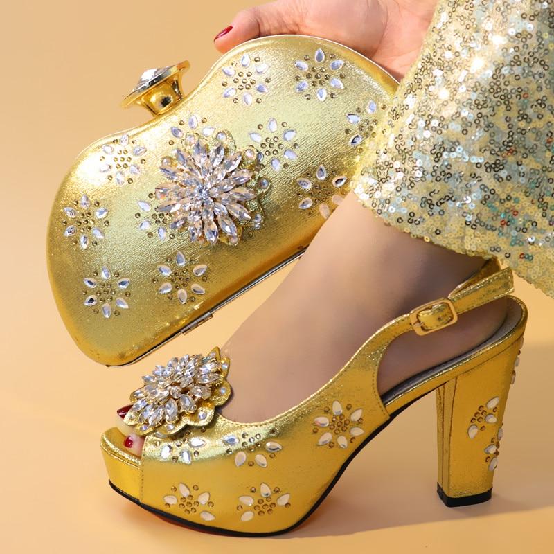 1 Hauts Italiennes Décoré 2 Femme 4 De Avec Dames Chaussures 3 Nouveauté Et Ensemble Talons Strass Pompes Femmes Sacs RHBHqp
