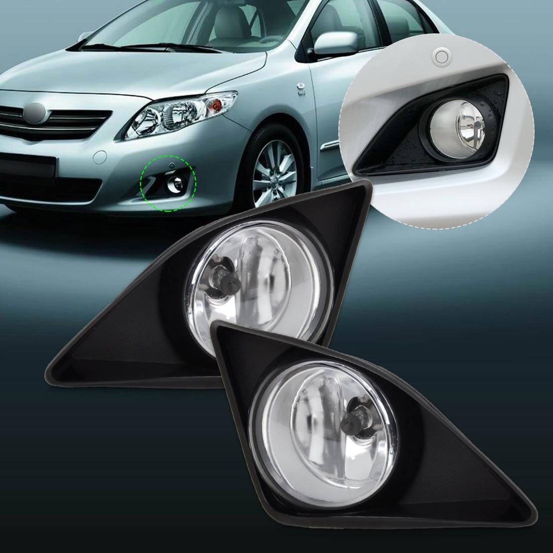 ФОТО #beler High Quality 4Pcs Front Right Left Fog Light Lamp + Grille Cover Bezel for Toyota Corolla 2007 2008 2009 2010