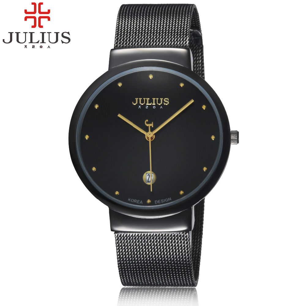 2016 Luxury Julius Brand Men Women Watches Steel Mesh Quartz Calendar Wrist watch Thin Dial Clock Reloj Hombre Relogio Feminino