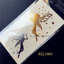 Hot Popular Metallic Unscented Tattoo Gold Silver Women Henna HAQ1002 Stars Angel Wings Design Body Art Temporary Tattoo Sticker