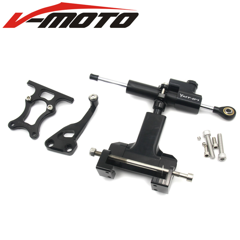 WITH LOGO MT07 FZ07 Full Set of Steering Damper Mounting Bracket Kit for YAMAHA MT-07 FZ-07 2014 2015 2016 2017 FZ 07 MT 07 for yamaha mt 03 2015 2016 mt 25 2015 2016 mobile phone navigation bracket page 7