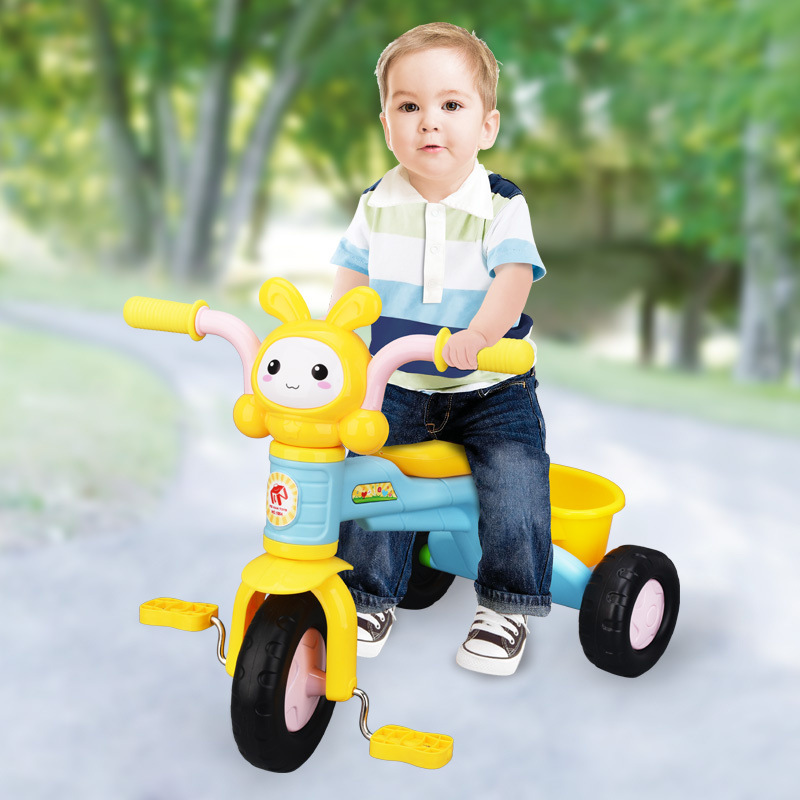 Children's cartoon three wheeled bicycle bicycle multi function music baby stroller toy