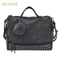 Vintage Nubuck Leather Female Top Handle Bag Rivet Larger Women Bags Hair Ball Shoulder Bags Motorcycle