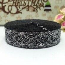 "HOT!!2015 NEW ribbon wholesale 3/4""(20mmx10yard/sets) 100% polyester Woven Jacquard ribbon Geometric series Black silver lace"