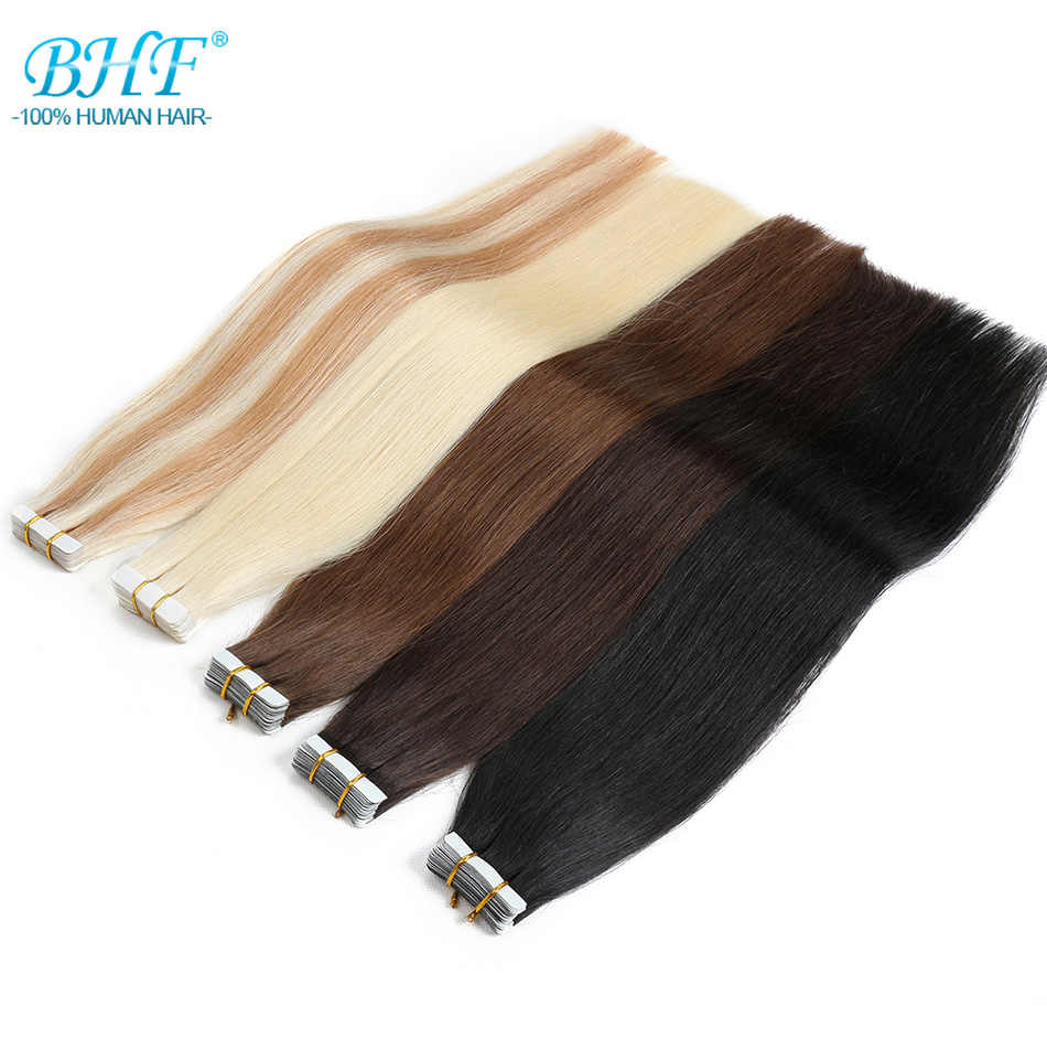 BHF Tape In Human Hair Extensions 20pcs Remy Straight Double Sided Tape Hair Adhesive Extension