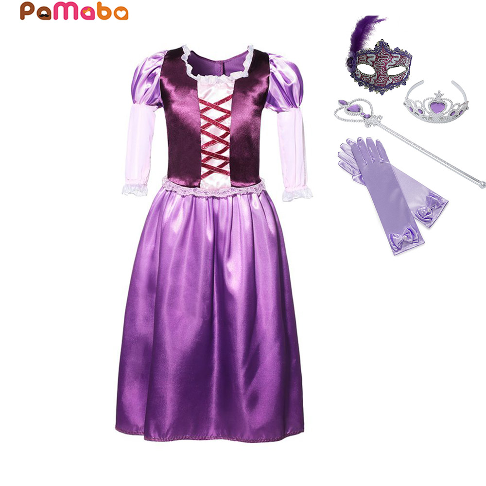 PaMaBa Tangled Rapunzel Princess Dress Outfit with Crown Magic Wand Gloves Mask Kids Halloween Rapunzel Fantasy Cosplay Costume camping equipment pocket edc gear three stages knife sharpener pocket outdoor survival tool fish hook sharpening stone