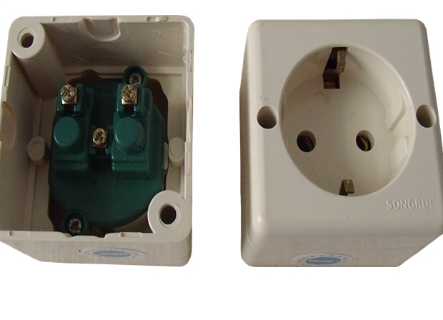4pcs European standard power outlet 16A 250V surface mounted wiring