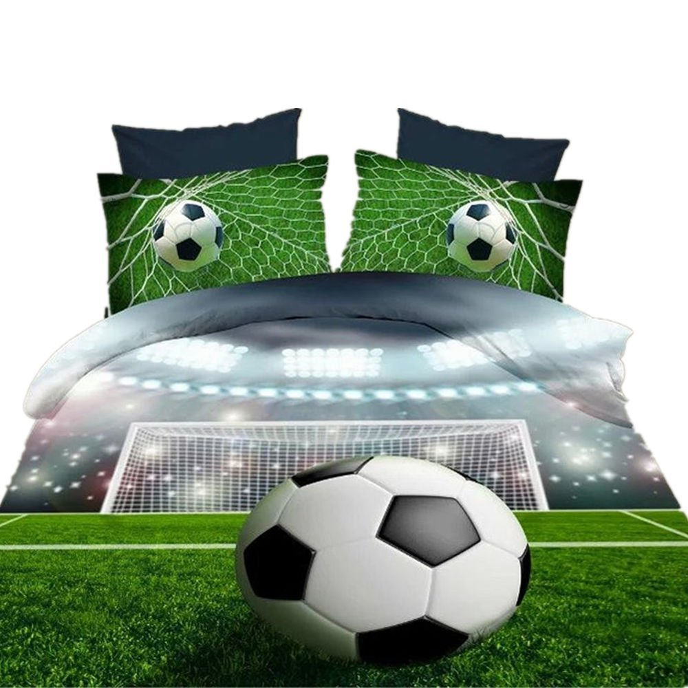 WARM TOUR 3D Bedding Sets 4 Piece Soccer Ball/ Football Duvet Cover Sets 100% Polyester No Comforter (queen)