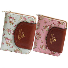 Womens wallet rose flower Pastoral style small fresh floral two fold cover buckle zipper short