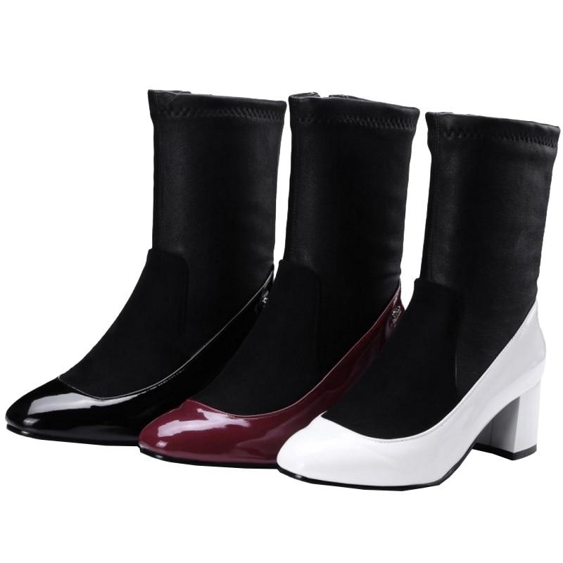 wine Chunky Chelsea Chaussures Carré Casual Sjjh Bottes mollet Taille Red En Mode Bout Zip Patchwork Court blanc Noir Mi Peluche Q581 Femmes Grande Avec rdeoCBx