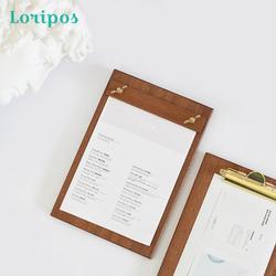 Clip de Menu d'affichage de magasin en bois massif en laiton porte-fichiers panneau de coussin de bureau