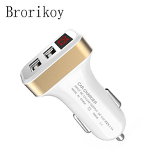 Car Charger Quick Charge Dual USB for iPhone Samsung Adapter Device LCD Digital Display Mobile Phone 2.1A Car-Charger