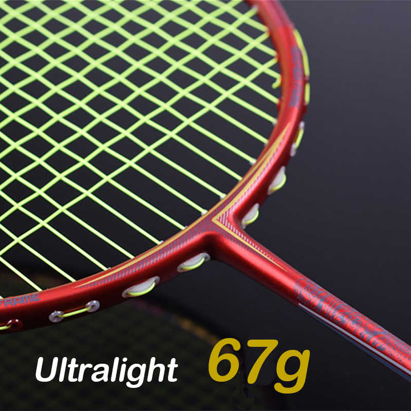 Super Light 7U 67g Professional Full Carbon Badminton Racket Ultralight Raquette 22-30 LBS Nanoray Z-Speed Force Free String Bag