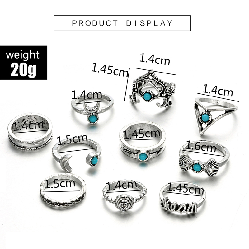 HuaTang Bohemian Antique Silver Ring Geometric Elephant Flower Green Rhinestone Knuckle Rings Midi Finger Anel Rings Jewelry 95