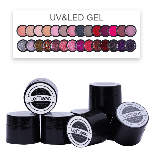 LEMOOC 5ml UV Gel Polish New 2019 Nail Art Tips 180 Colors UV LED Soak Off UV Gel Varnish Nail Polish DIY Paint Gel Ink Manicure