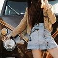 De las mujeres de Inspiración Vintage Denim Mini Skirts Jackson Bordado Denim Faldas de Verano de La Alta Cintura Ocasional Floral Ladies Jean Faldas