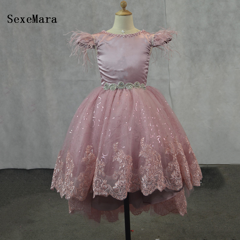 купить Real Picture New Arabic Princess Flower Girl Dresses Backless Party Gowns Floral Sequins Lace Tiered Girl Communion Dress онлайн