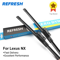 REFRESH Wiper Blades For Lexus NX Series NX 200t 300h Fit Push Button Arms 2014 2015