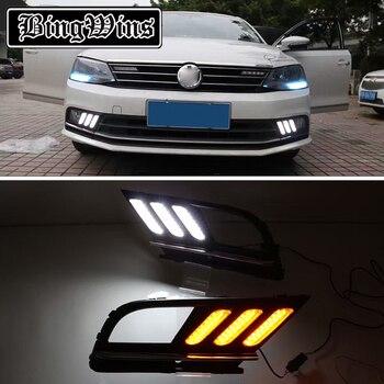 Yellow Turn Signal Style Relay Waterproof 12V Car LED DRL Daytime Running Light Daylight For Volkswagen Jetta Sagitar 2015 2016