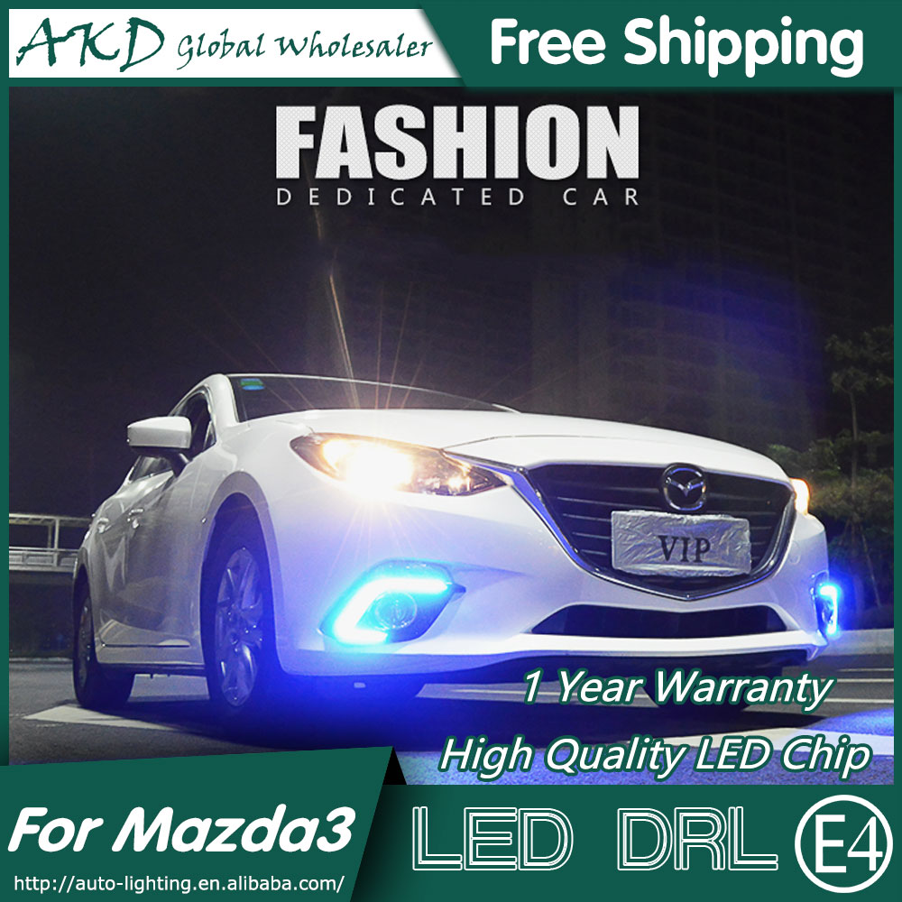 AKD Car Styling LED Fog Lamp for Mazda 3 LED DRL 2014-2015 Mazda 3 Axela DRL LED Running Light Fog Light Parking Accessories car styling abs material roof spoiler without paint for mazda axela 2013 2014 2015 high quality auto decoration accessories