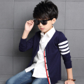 Boys Cardigan Sweater Spring Autumn Kids Patchwork V-Neck Sweater Jacket Children Cotton Good Quality Single-Breasted Sweaters
