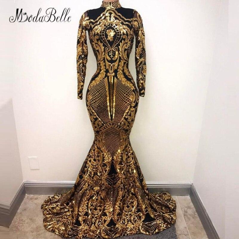 Modabelle Dames Manches Longues Sequin Robe de Soirée Noir Or 2018 Arabe Abend Kleider Lange Formelle Robe Femmes Robe de Partie