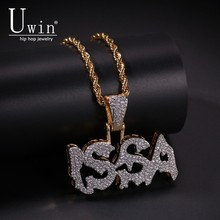 Uwin Letter ISSA Pendant Cubic Zirconia Micro Paved CZ Bling Iced Out Cool Charm Necklace For Men Jewelry