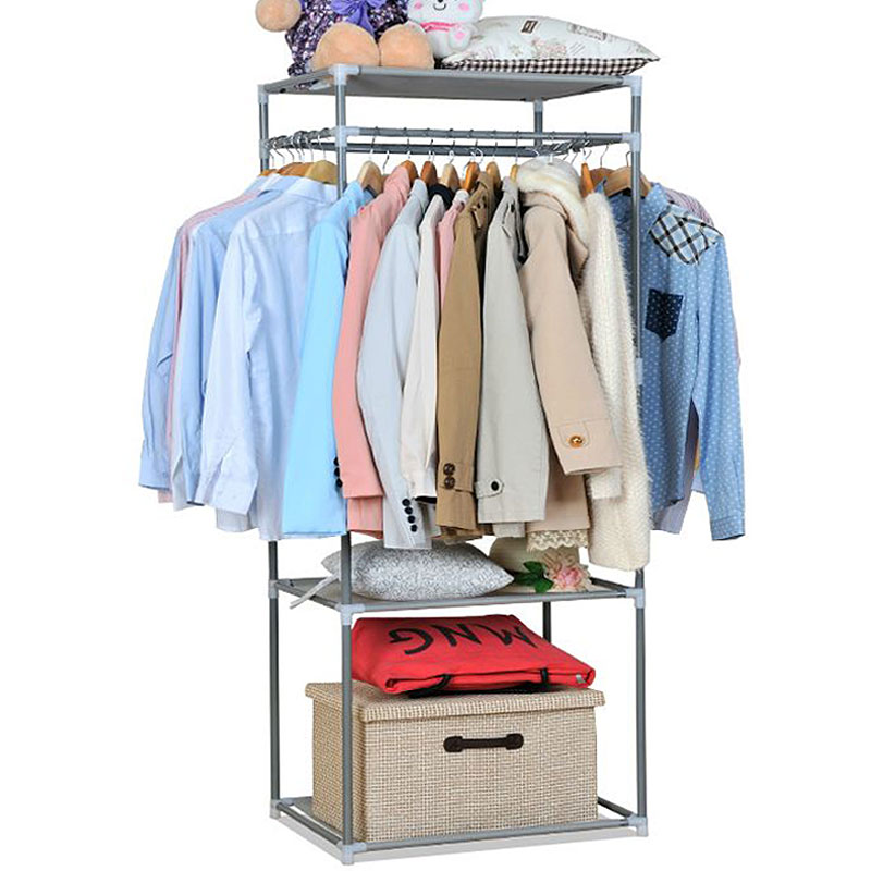 Fashion Portable Stainless Steel Clothes Hanger Organizer Clothes Floor Rack Garment Coat Bedroom Creative Hangers a2