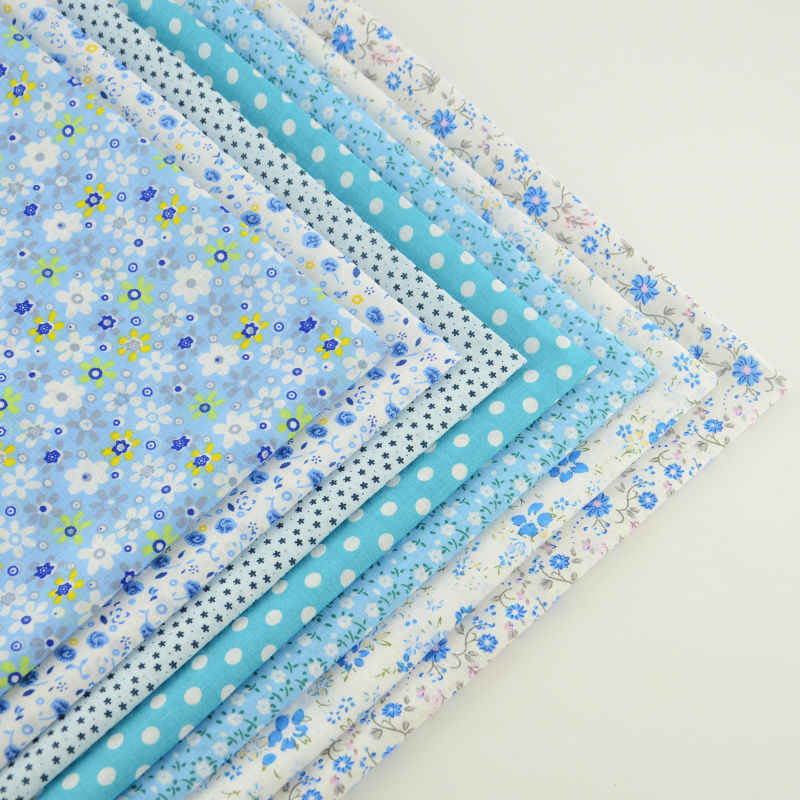 7pcs Mix Light Blue Print Lovely Flowers Abd Dots 100% Cotton Fabric Square Bundle Perfect Match Table Cloth DIY Dolls Handmade