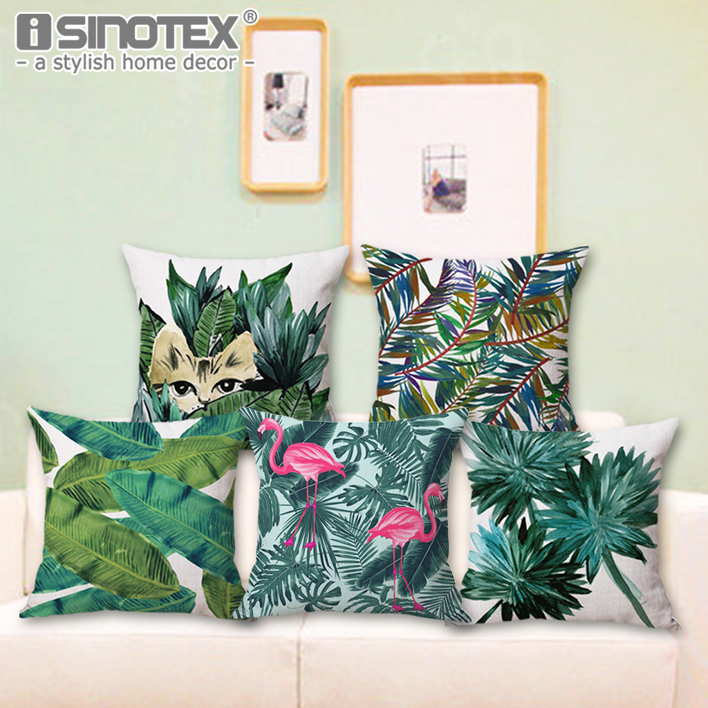 Green Leaves Cushion Cover Africa Tropical Plant Printed Linen Pillow Case Chair Car Sofa Pillow Cover Christmas Decorative Gift