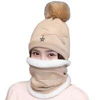Winter Scarf Hat Set Women Knitted Beanie Hats Face Mask Fleece Neck Warmer Ski Caps Star