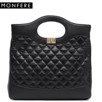 MONFERE Brand New Real Leather Handbags Women Large Bucket Luxury Black Plaid Top handle Hobos Soft Shoulder Bags Crossbody Bags