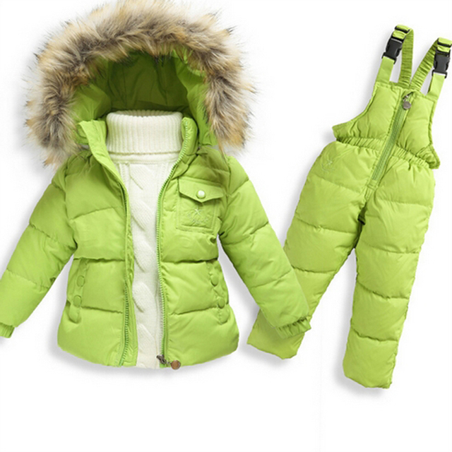 Special Price Winter Down Jackets For Girls Kids Snowsuit Children Clothes Warm Jacket Toddler Outerwear Coat+Pant Suits Set Jumpsuit Overalls