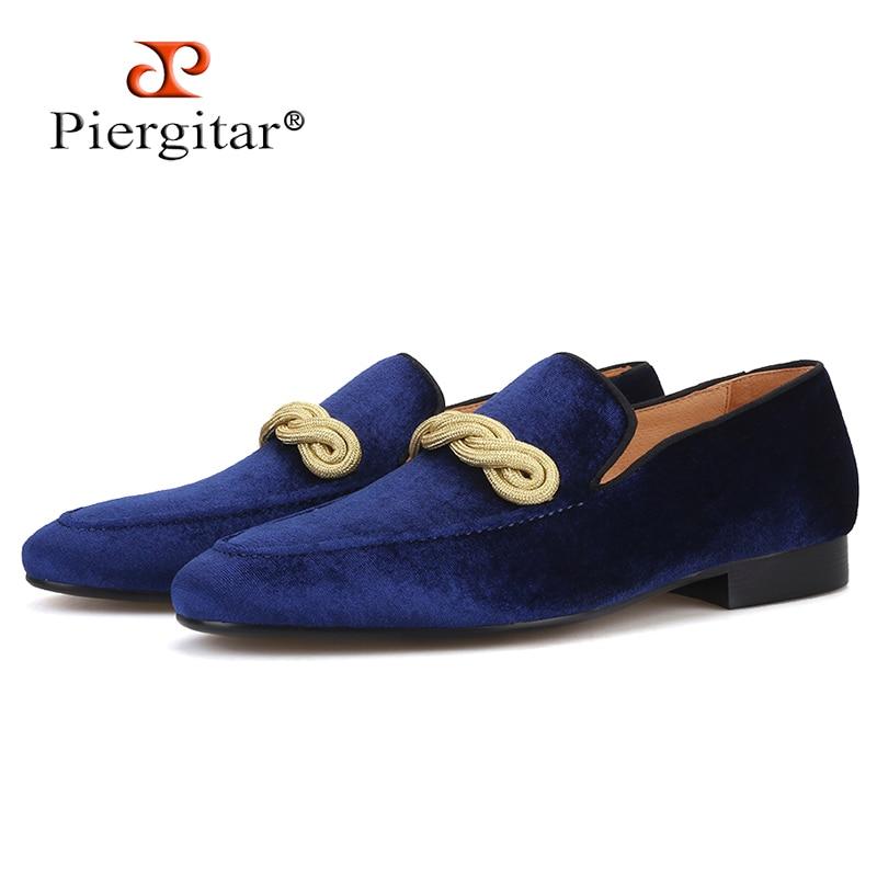 Piergitar 2019 top grade velvet handmade men loafers with gold rape designs wedding and party slip