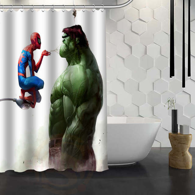 Custom Hulk Marvel Shower Curtain With Hooks Polyester Fabric Printing Bath For Bathroom Waterproof