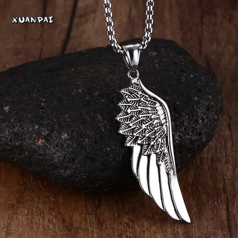 Men Choker font b Necklaces b font Stainless Steel Vintage Gothic Feather Angel Wing font b
