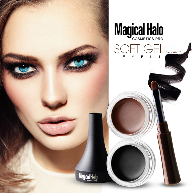 Magical Halo Profesional Waterproof Makeup Eyeliner Gel Smooth Easy to Wear Black Brown Color Pigment Eye Liner Cream with Brush