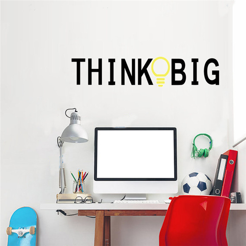think big wall stickers lettering words decal vinyl quote home decor for office decor mural home decoration