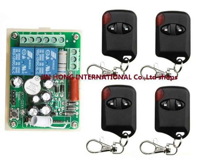 Sistema del Interruptor de Control Remoto Inalámbrico AC220V 2CH teleswitch 1 * Receptor + 4 * Transmisores para Electrodomésticos Puerta del ojo de gato La Puerta del garaje