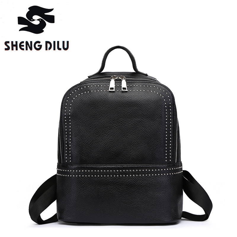 Cow mochila shengdilu brand  100% genuine leather Backpack 2017 new women shoulder bag Fashion rivets school bag free shipping