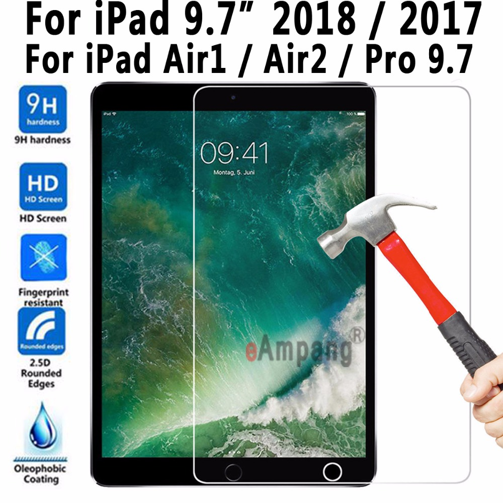 Top Quality Tempered Glass for Apple New iPad 9.7 2017 2018 for iPad Air 1 2 Pro 9.7 Screen Protector A1822 A1823 A1893 A1954