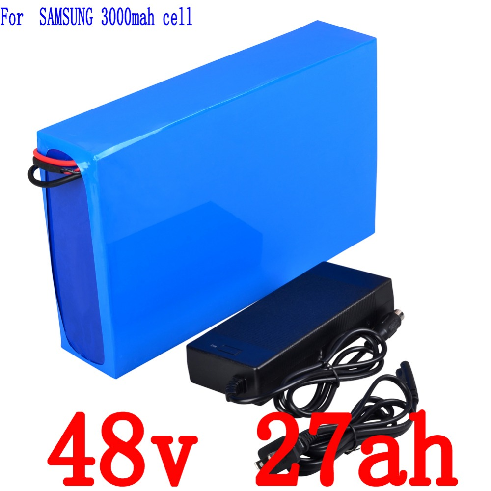 48V 2000W battery 48V 27AH Electric Bike Lithium Battery Use for Samsung cell with  2A Charger  and  50A BMS Free shipping e bike battery 48v 15ah 1000w use for samsung 3000mah cells built in 30a bms with 2a charger lithium battery 48v free shipping