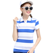 Women Polo Shirts 2017 Summer Hot Sale Cotton Turn-down Collar Plus Size Short Sleeve Shirt Girl Lady Tops Striped POLO Shirt