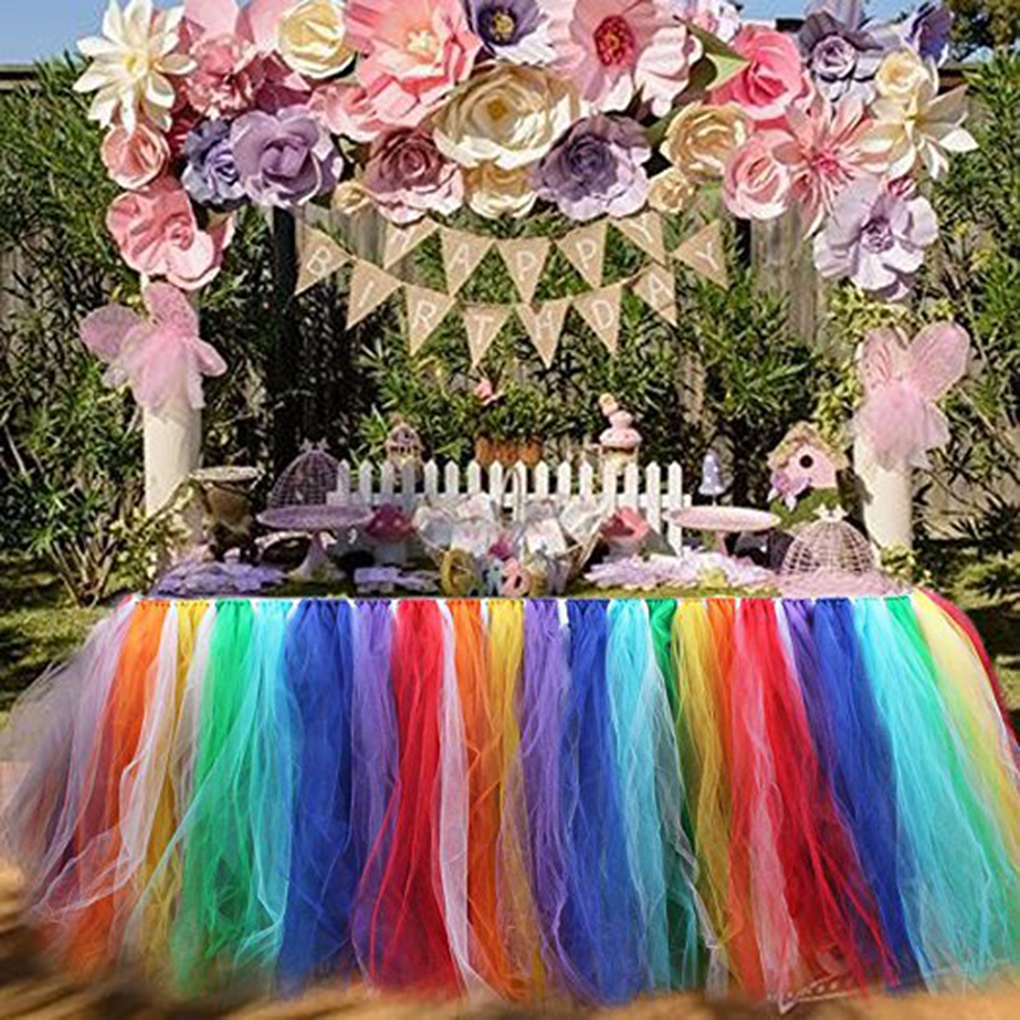 Rainbow Color Table Skirts Tulle Tutu Table Dress for Wedding Party Decoration Baby Shower Birthday Party Decor