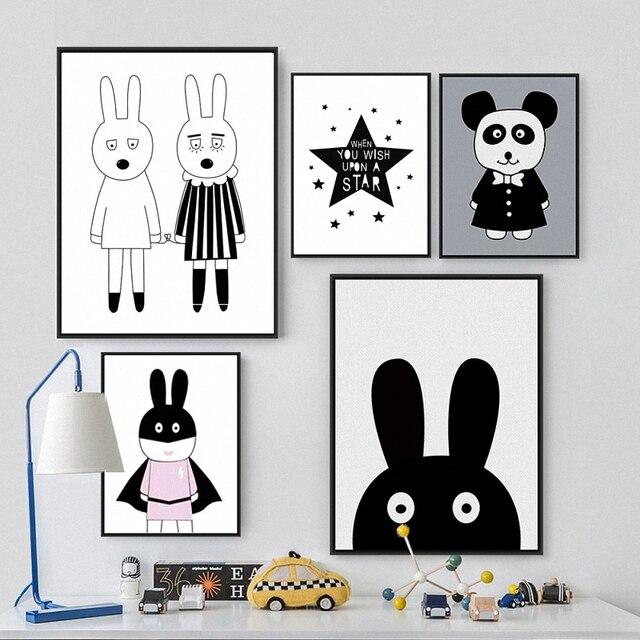 Nordic Kelinci Tema Partai Dekorasi Hewan Kartun Lucu Panda Hitam Putih Kanvas Lukisan Art Wall Poster