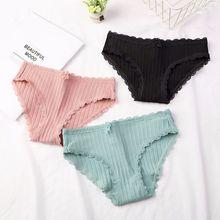 все цены на Sexy Lace Panties Women Fashion Cozy Lingerie Tempting Pretty Briefs High Quality Cotton Low Waist Women Underwear онлайн