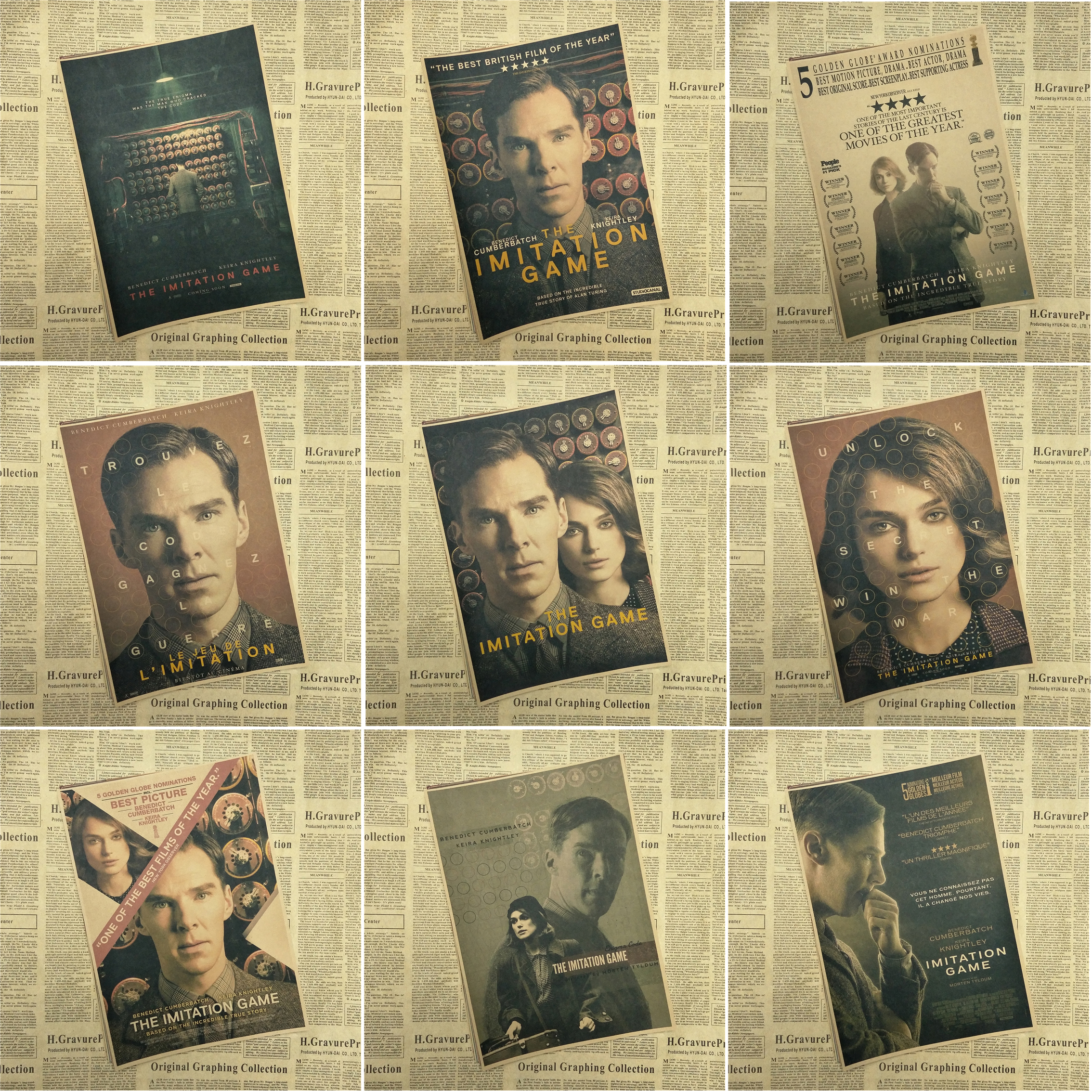 The Imitation Game Oscar Poster retro kraft paper decorative stickers wall sticker ...