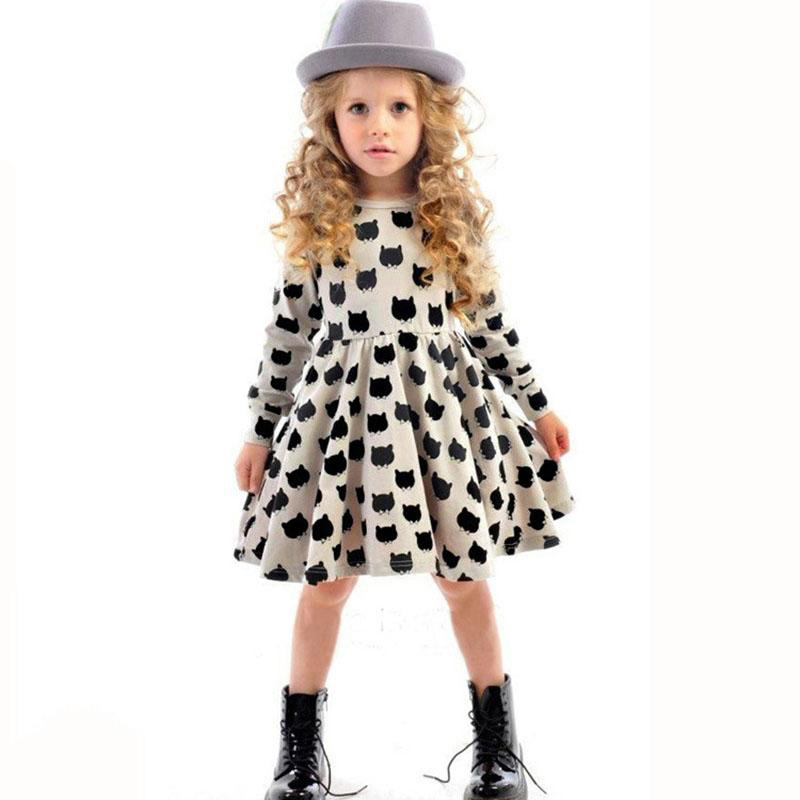 2018 Winter Autumn Spring Girls Dress Animal Print Kids Clothes Fashion Long Sleeve Cotton Girls