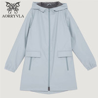 AORRYVLA 2018 Spring Autumn Women Trench Coat Casual Long Hooded Windbreaker Full Sleeve Zipper Waterproof Female